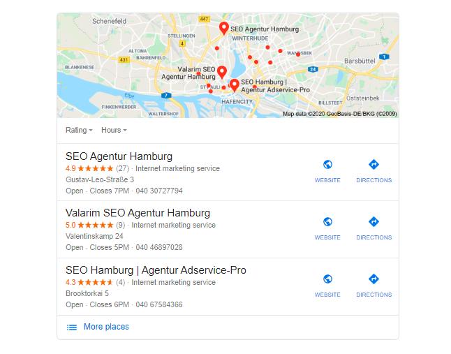 SERP Karte Google