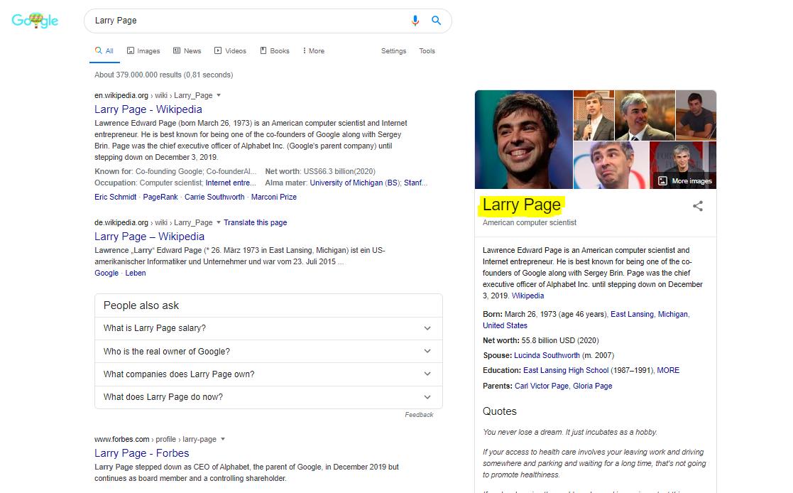 Was ist der Google Knowledge Graph - Larry Page
